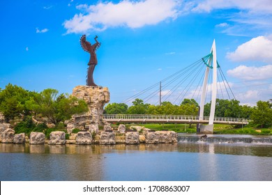 WICHITA, KANSAS - AUGUS 30, 2018: The confluence of the Arkansas and Little Arkansas River at the Keeper of the Plains near downtown Wichita.