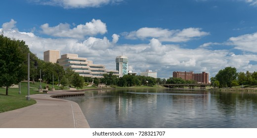 WICHITA, KANSAS - AUGUST 13: The Arkansas River and downtown Wichita from Veterans Memorial Park on August 13, 2017 in Wichita, Kansas