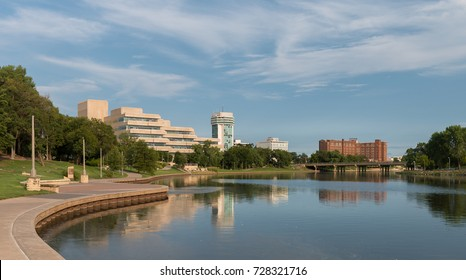 WICHITA, KANSAS - AUGUST 13: The Arkansas River and downtown Wichita from Veterans Memorial Park on August 13, 2017 in Wichita, Kansas