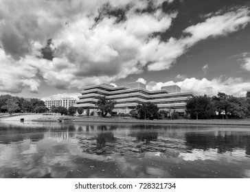 WICHITA, KANSAS - AUGUST 13: Building along the Arkansas River at on August 13, 2017 in Wichita, Kansas