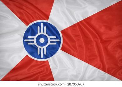 Wichita ,Kansas flag on fabric texture,retro vintage style