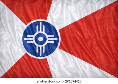 Wichita ,Kansas flag pattern on the fabric texture ,vintage style