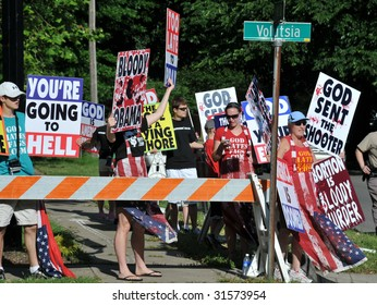 WICHITA, KANSAS - JUNE 6: Abortion Protesters at the funeral of Dr George Tiller on Saturday, June 6, 2009 in Wichita KS.