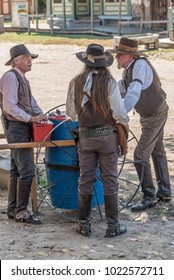 Wichita, Kansas / October 14, 2015: Old Cow Town is a living history museum where costumed interpreters recreate a frontier settlement on the Chisholm Trail of the late 1800's.