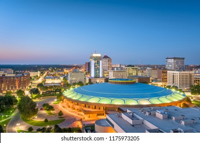 Wichita, Kansas, USA downtown skyline at dusk.