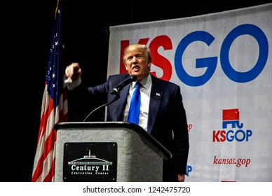 Wichita, Kansas, USA, March 5, 2016 Presidential Candidate Donald Trump addresses the Kansas State Republican caucus today