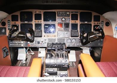Wichita, KS/USA : July 2, 2015 –  Cockpit and controls of old  decommissioned Beechcraft Starship.
