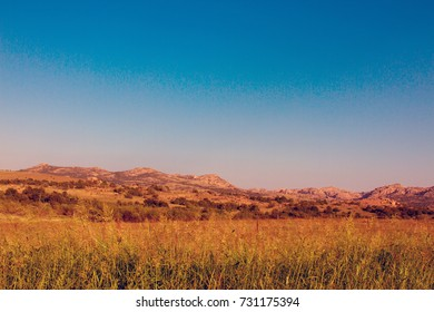 Wichita Mountains Wildlife Refuge in southwestern Oklahoma at sunset in autumn