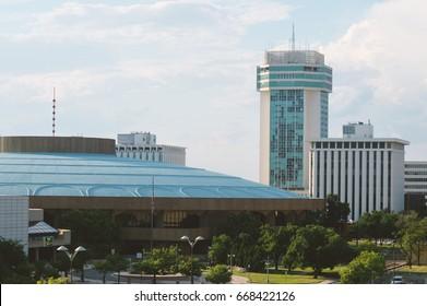 Wichita Skyline Buildings on a Semi-Cloudy Day