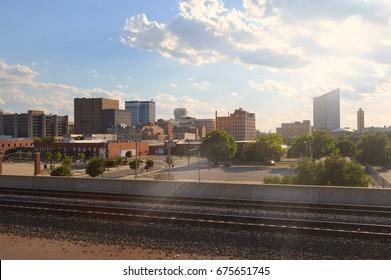 Wichita Skyline next to Rail Road Tracks