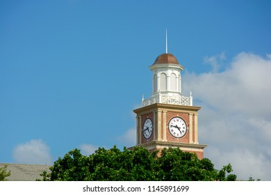 Wichita State University in Wichita, Kansas, Morrison Hall Clock Tower on a Sunny Day