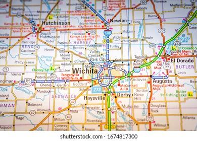 Wichita USA map travel background