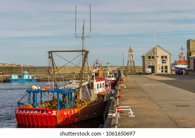 WICK, CAITHNESS, UK - OCTOBER 3, 2016: Scottish trawler Sardonyx II (WK350) moored in Wick Harbour.