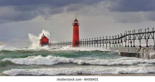 """"""" Wicked Wind""""  Grand Haven Lighthouse - Grand Haven , Michigan"""