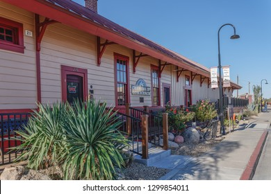 Wickenburg, Arizona - Nov. 19, 2018: The Chamber of Commerce building is the original Santa Fe Depot and is home to the official Visitor's Center.