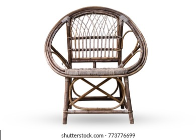 Wicker armchair isolated on white background with clipping path. old chair. furniture for decoration vintage style