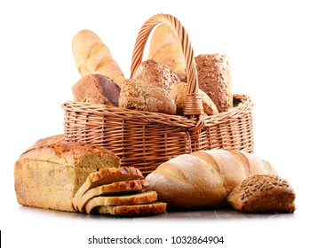 Wicker basket with assorted baking products isolated on white background