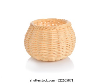 Wicker basket, bamboo basket on white background