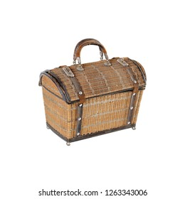 Wicker basket, breadbasket, bread-plate, dish for food or fruits isolated on a white background