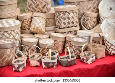 Wicker basket, fruit basket, handmade goods on the market