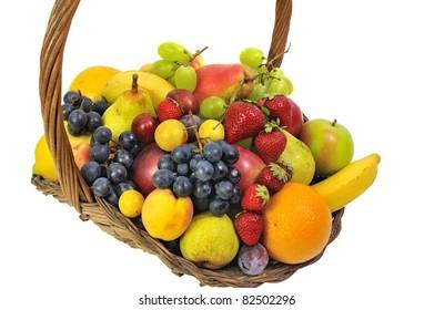 a wicker basket full of fruit