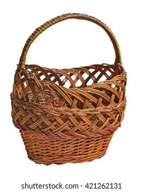 Wicker  basket with handle on a white background. Handmade. Weaving. Shopping for products, fruit, bread. Picnic basket. Isolated. Camping. Lunch. Wicker box for food. Eco-friendly, rustic.  rural.