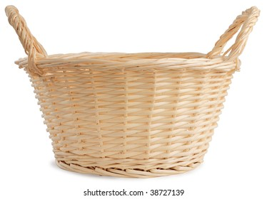 Wicker basket isolated against white background.
