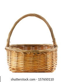 Wicker basket isolated on white background (with clipping work path)