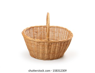 wicker basket, isolated on white background