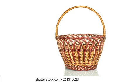 Wicker basket isolated on white