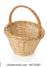 wicker basket isolated on white background