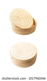 Wicker basket isolated over the white background , set of several different foreshortenings