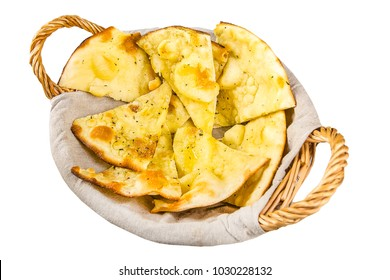 wicker basket, lavash, cheese fused, cut into pieces, isolated on white background