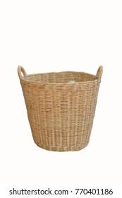 Wicker basket on a beautiful white background.