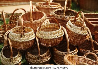 wicker basket on market