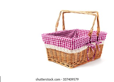 wicker basket with pink cloth
