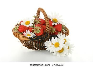 wicker basket of strawberries