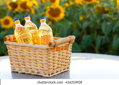 Wicker basket with three bottles of sunflower oil on the background of the field.Backlight.