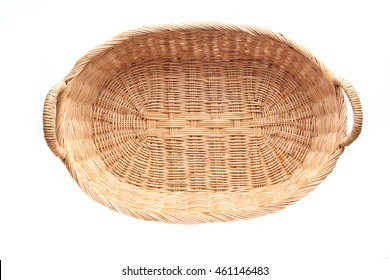 wicker basket top view isolated on white background