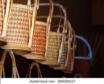Wicker basket, wickerwork of wooden patterned hand-made basket in Thailand old market. Weaved baskets, Rattan Thai traditional handicrafts bamboo basket.