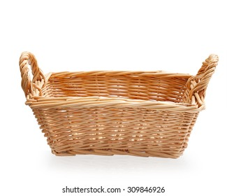 wicker baskets  hand made isolated on white background. This has clipping path.