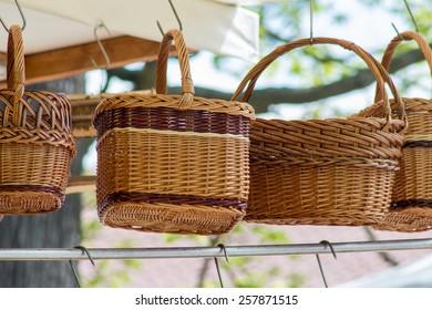 Wicker baskets on a market (handmade)