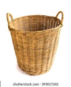 Wicker baskets on white background