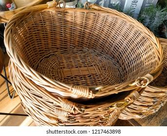 Wicker baskets. Traditional wicker baskets. Shopping baskets.