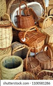 Wicker baskets, traditional Spanish crafts, Almagro, province of Ciudad Real, Castilla la Mancha, Spain