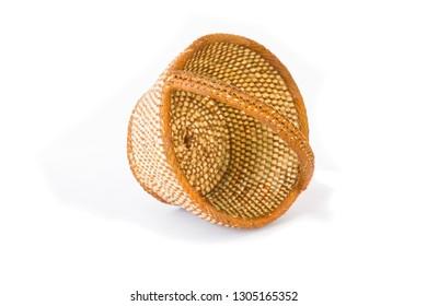 wicker baskets typical of Castilian crafts, on a white background, Castilla y Leon, Spain