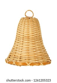 Wicker bell on white, can be used as Christmas tree decoration