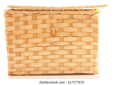 Wicker box with zip isolated on white