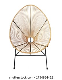 wicker chair isolated on white background. Details of modern boho, bohemian , scandinavian and minimal style