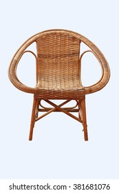 Wicker chair isolated on white background